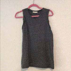 NWOT- charcoal grey tank with ruffle trim sleeves